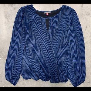 Vince Camuto Blue & Black Blouse Design Size S